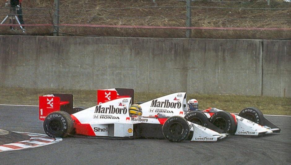 Ayrton Senna ja Alain Prost kurikuulsal 1989. aasta Jaapani GP-l
